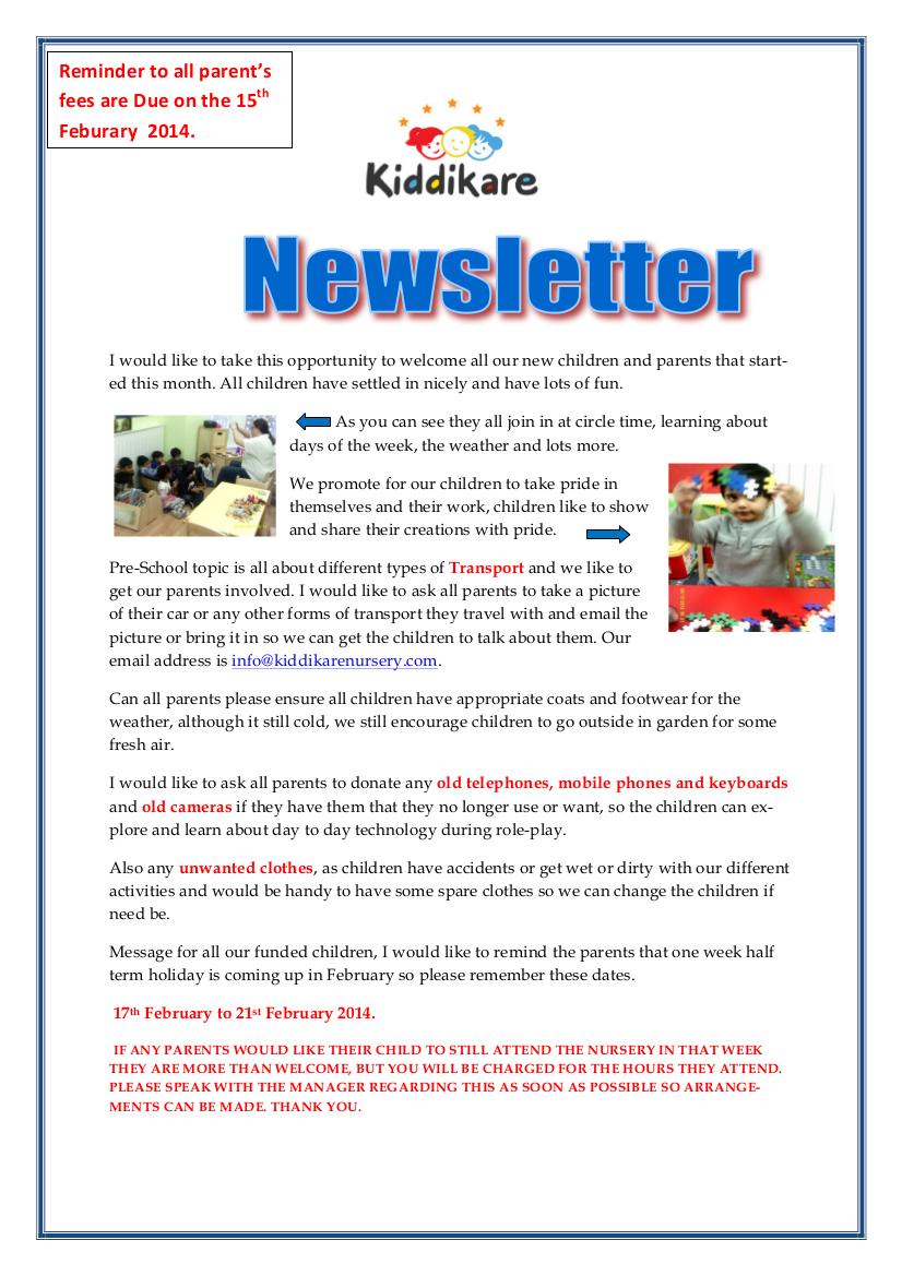 January 2014 Newsletter - Kiddikare Nursery